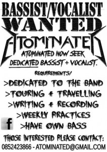 Atominated seek Bassist and Vocalist